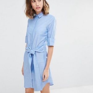 WAREHOUSE Clean Cotton Tie Front Blue Shirt Dress